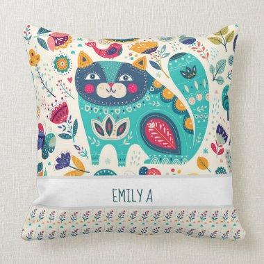 Personalized CAT Folk Art Decorative Birds Flowers Throw Pillow