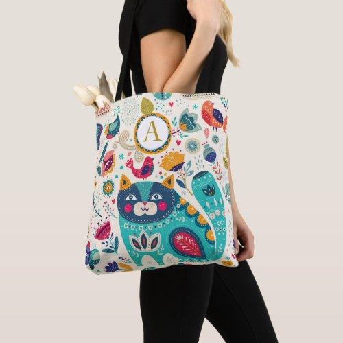 Personalized CAT Folk Art Decorative Birds Flowers Tote Bag