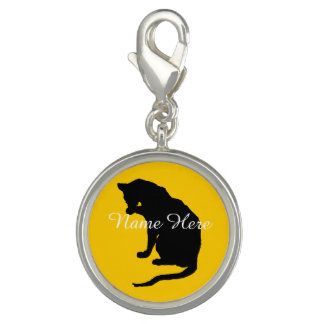 Personalized Cat Licking Paw Charm