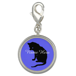 Personalized Cat Licking Paw Charm ~ blue