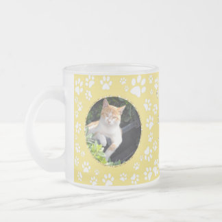 Personalized Cat Memorial Mug Paw Prints Yellow