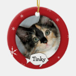 Personalized Cat/Pet Photo Holiday Double-Sided Ceramic Round Christmas Ornament
