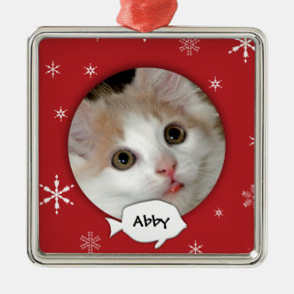 Personalized Cat Photo Holiday Metal Ornament