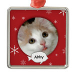 Personalized Cat Photo Holiday Square Metal Christmas Ornament