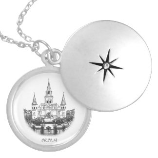 Personalized Cathedral Keepsake Silver Plated Necklace