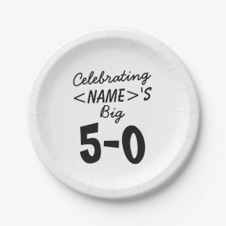 Personalized Celebrating the Big 5-0 50th birthday Paper Plate
