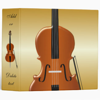 Personalized Cello Design 3 Ring Binder