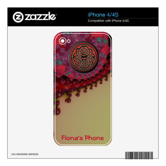 Personalized Celtic Red Gold Monogrammed iPhone iPhone 4S Decals