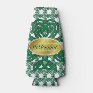 Personalized Celtic Shamrock Scroll Bottle Cooler