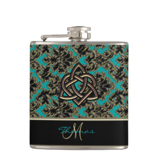 Personalized Celtic Triquetra Heart Damask Flask