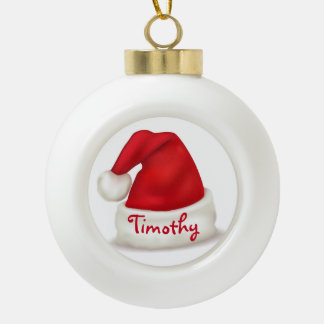 Personalized Ceramic Ball Ornament/Santa Hat Ceramic Ball Christmas Ornament