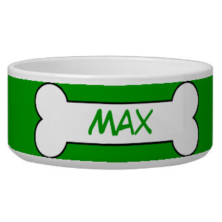 Personalized Ceramic Dog Bowl with Name Green