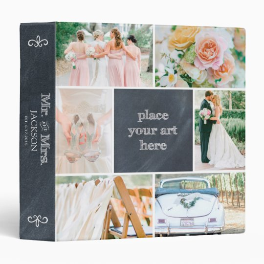 PERSONALIZED CHALK COLLAGE SCRAPBOOK 3 RING BINDER