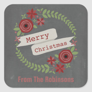 Personalized Chalk Inspired Wreath Christmas Square Sticker