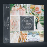 """PERSONALIZED CHALK WEDDING PHOTO COLLAGE ALBUM BINDER<br><div class=""""desc"""">Create a one of a kind keepsake with this trendy shabby chic chalk photo collage with 4 of your custom wedding photos arranged in a square grid. Hand drawn wreath and accents with your name and wedding date. Gorgeous chalk background. Add your favorite wedding photos and create a beautiful keepsake...</div>"""