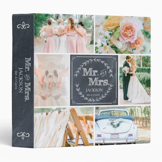 personalized chalk wedding photo collage album binder. Black Bedroom Furniture Sets. Home Design Ideas