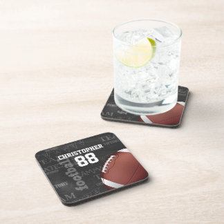 Personalized Chalkboard American Football Drink Coasters