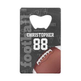 Personalized Chalkboard American Football Credit Card Bottle Opener