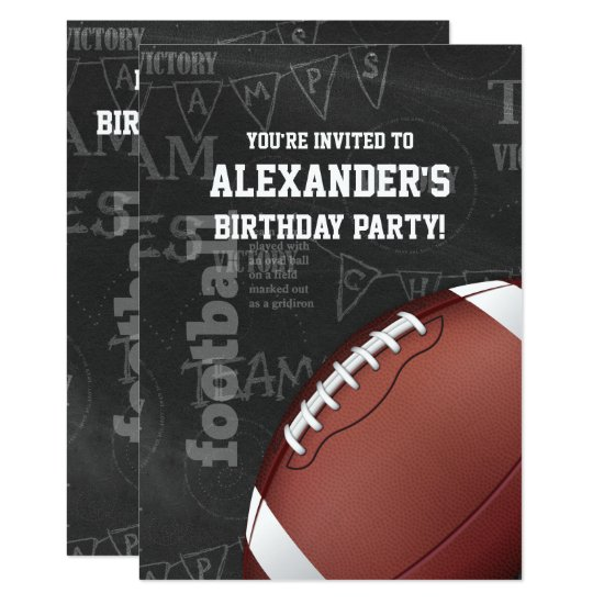 Personalized Chalkboard American Football Invitation