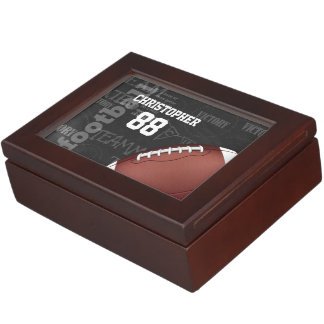 Personalized Chalkboard American Football Memory Box