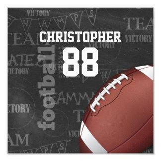 Personalized Chalkboard American Football Photo Print