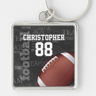 Personalized Chalkboard American Football Silver-Colored Square Keychain