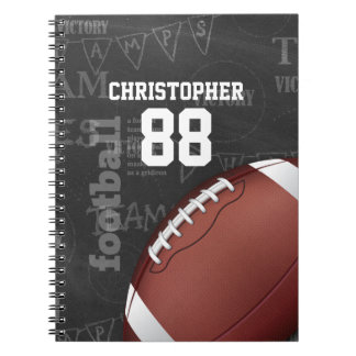 Personalized Chalkboard American Football Spiral Notebook