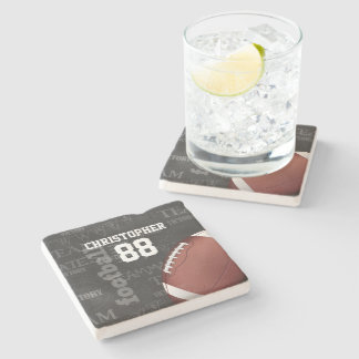 Personalized Chalkboard American Football Stone Coaster