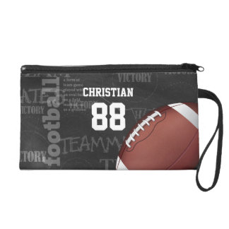 Personalized Chalkboard American Football Wristlet