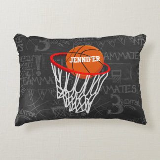 Personalized Chalkboard Basketball and Hoop Accent Pillow