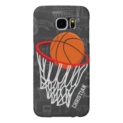 Personalized Chalkboard Basketball and Hoop Samsung Galaxy S6 Cases