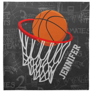 Personalized Chalkboard Basketball and Hoop Cloth Napkin