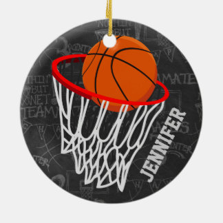 Personalized Chalkboard Basketball and Hoop Double-Sided Ceramic Round Christmas Ornament