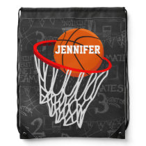Personalized Chalkboard Basketball and Hoop Drawstring Bag
