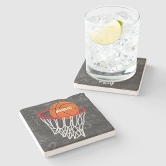 Personalized Chalkboard Basketball and Hoop Stone Beverage Coaster
