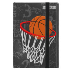 Personalized Chalkboard Basketball and Hoop iPad Mini Cover at Zazzle