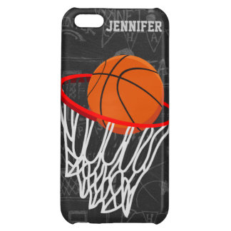 Personalized Chalkboard Basketball and Hoop iPhone 5C Cover
