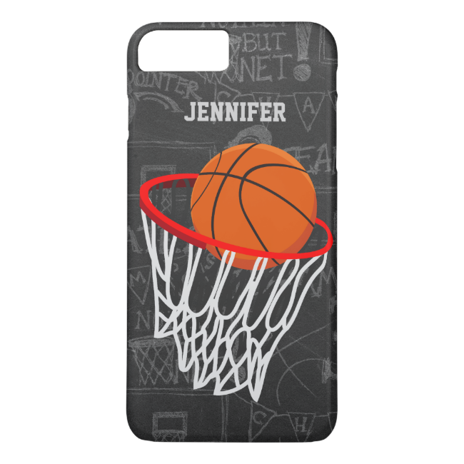 Personalized Chalkboard Basketball and Hoop iPhone 7 Plus Case