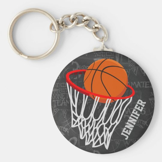 Personalized Chalkboard Basketball and Hoop Keychain