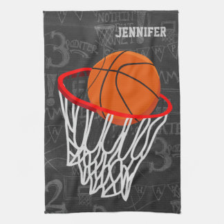 Personalized Chalkboard Basketball and Hoop Kitchen Towel