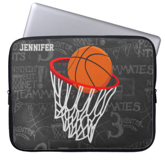 Personalized Chalkboard Basketball and Hoop Laptop Computer Sleeve
