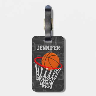 Personalized Chalkboard Basketball and Hoop Luggage Tag