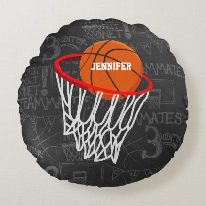 Personalized Chalkboard Basketball and Hoop Round Pillow