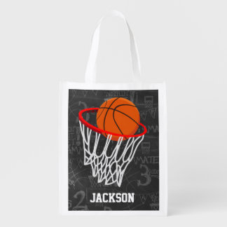 Personalized Chalkboard Basketball and Hoop Market Totes