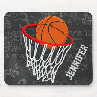 Personalized Chalkboard Basketball and Hoop Mouse Pad