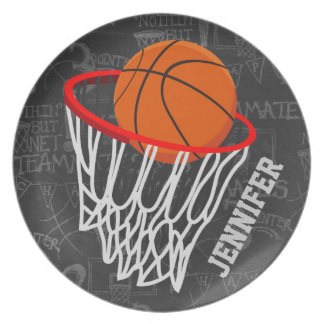 Personalized Chalkboard Basketball and Hoop Plate
