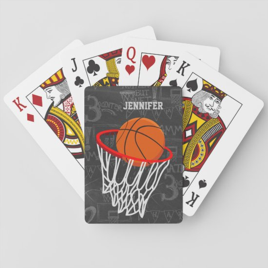 Personalized Chalkboard Basketball and Hoop Playing Cards