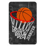 Personalized Chalkboard Basketball and Hoop Rectangular Photo Magnet