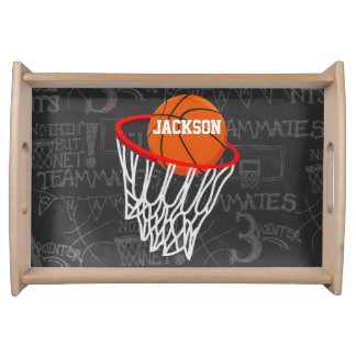 Personalized Chalkboard Basketball and Hoop Serving Tray