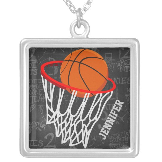 Personalized Chalkboard Basketball and Hoop Silver Plated Necklace
